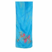 Yair Emanuel Painted Silk Scarf Small Size Pomegranates Design Turquoise