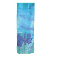 Yair Emanuel Painted Silk Scarf Small - Flowers Turquoise