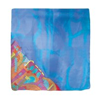 Yair Emanuel Painted Silk Scarf Square - Jerusalem Blue