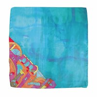 Yair Emanuel Painted Silk Scarf Square - Jerusalem Light Blue