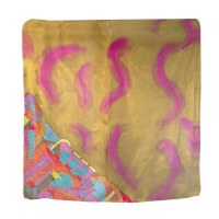 Yair Emanuel Painted Silk Scarf Square - Jerusalem Gold