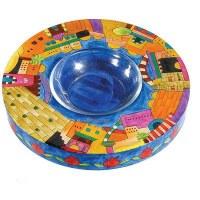 Yair Emauel Wood Painted Honey Plate - Jerusalem