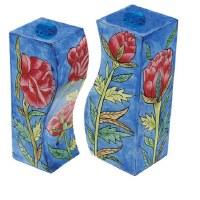 Yair Emanuel Wooden Handpainted Salt and Pepper Shaker - Roses
