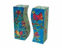 Yair Emanuel Wooden Handpainted Salt and Pepper Shaker - Birds
