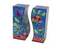 Yair Emanuel Wooden Handpainted Salt and Pepper Shaker - Flowers