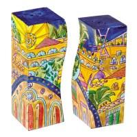 Yair Emanuel Wooden Handpainted Salt and Pepper Shaker - Oriental Jerusalem