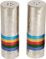 Yair Emanuel Hammered Salt and Pepper Shaker Set - Multicolor