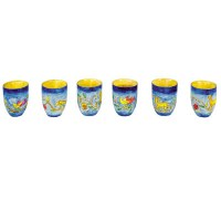Yair Emanuel Set of Six Small Wooden Cups - Oriental
