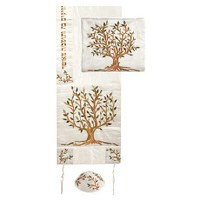 Yair Emanuel Machine Embroidered Tallit Tree of Life - Brown