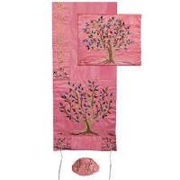 Yair Emanuel Machine Embroidered Tallit Tree of Life - Pink