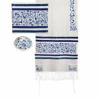 Yair Emanuel Embroidered Raw Silk Tallit Set The Matriarchs - Blue 16'' x 70''