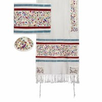Yair Emanuel Embroidered Raw Silk Tallit Set The Matriarchs - Multicolor 16'' x 70''