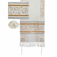 Yair Emanuel Raw Silk Tallit Set Embroidered Matriarchs - Gold and Silver 16'' x 70''