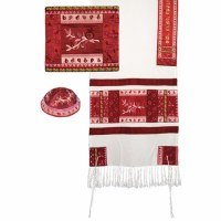 """Yair Emanuel Raw Silk Tallit Set with Full Embroidery - Pink Pomegranates 20""""x75"""""""