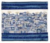 Yair Emanuel Tallis Bag Full Embroidered Jerusalem in Blue
