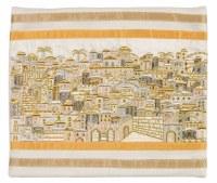 Yair Emanuel Tallis Bag Full Embroidered Jerusalem in Gold