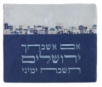 Yair Emanuel Tallis Bag Microsuede Blue with Blue Jerusalem Design