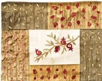 Yair Emanuel Embroidered Tallit Bag with Patches - Pomegranates Gold