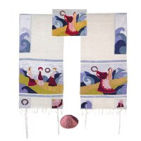 """Yair Emanuel Embroidered Raw Silk Tallit Set - Miriam and the Drum 34"""" x 75"""""""
