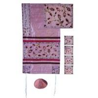 "Yair Emanuel Embroidered Raw Silk Tallit Set - The Matriarchs Pink 17"" x 75"""