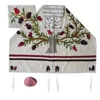 "Yair Emanuel Embroidered Raw Silk Tallit Tree of Life Pomegranates Design White 17"" X 75"""