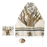 """Yair Emanuel Embroidered Raw Silk Tallit Set with Tree of Life 34"""" x 75"""""""