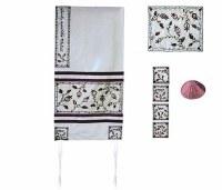 "Yair Emanuel Embroidered Raw Silk Tallit Set - The Matriarchs White 17"" x 75"""