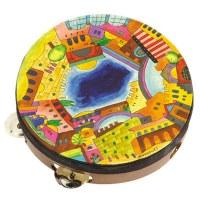 Yair Emanuel Handpainted Leather Tambourine - Jerusalem