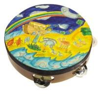Yair Emanuel Handpainted Leather Tambourine - Noah's Ark