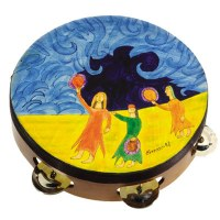 Yair Emanuel Handpainted Leather Tambourine - Miriam and Drums