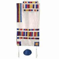 "Yair Emanuel Raw Silk Appliqued Stripes Tallit Set - Multicolor 21"" x 77"""