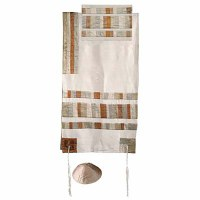 "Yair Emanuel Raw Silk Appliqued Stripes Tallit Set - Gold 21"" x 77"""