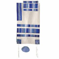 "Yair Emanuel Raw Silk Appliqued Stripes Tallit Set - Blue 21"" x 77"""