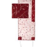 """Yair Emanuel Organza Tallit Set with Full Embroidery Maroon 20"""" x 75"""""""