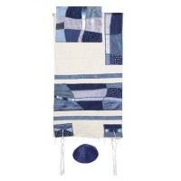 "Yair Emanuel Raw Silk Appliqued Tallit Set - Abstract Blue Shapes 21"" x 74"""