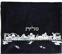 Yair Emanuel Velvet Tallit Bag Embroidered Jerusalem Blue Design