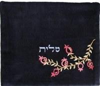 Yair Emanuel Velvet Embroidered Tallit Bag - Pomegranates