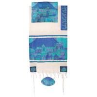 "Yair Emanuel Cotton and Silk Tallit Set - Jerusalem Gate in Blue 21"" x 77"""