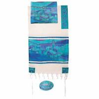 "Yair Emanuel Cotton and Silk Tallit Set - Vista in Turquoise 21"" x 77"""