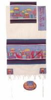 "Yair Emanuel Cotton and Silk Tallit Set - Jerusalem in Color 21"" x 77"""