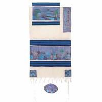 "Yair Emanuel Cotton and Silk Tallit Set - Jerusalem Dove in Blue 21"" x 77"""