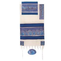 """Yair Emanuel Cotton and Silk Tallit Set - The Twelve Tribes in Blue 21"""" x 77"""""""