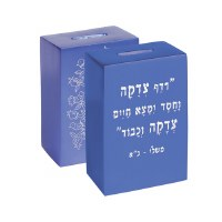 Yair Emanuel Anodized Aluminum Tzedakah Box Square with Print - Blue