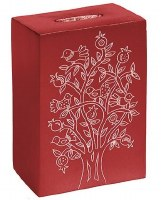 Yair Emanuel Aluminum Tzedakah Box Maroon Square Pomegranate Tree Design