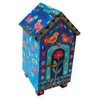 Yair Emanuel House Shaped Tzedakah Box - Birds and Flowers
