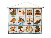 Yair Emanuel Twelve Tribes in English Wall Hanging - White