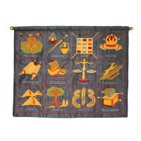 Yair Emanuel Twelve Tribes in English Wall Hanging - Blue