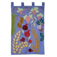 Yair Emanuel Extra Large Wall Hanging - The Seven Species Blue