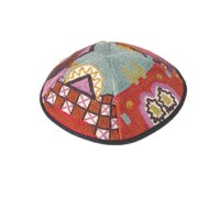 Yair Emanuel Hand Embroidered Kippah Multicolored Jerusalem Design