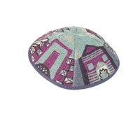 Yair Emanuel Hand Embroidered Kippah - Purple Jerusalem